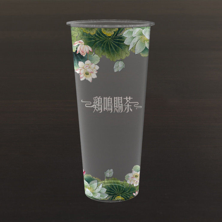 Plastic Milk Tea Cup UV Printing / Full Color Printing PP Material